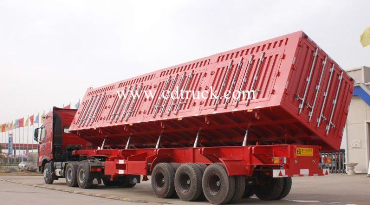 3 Axles 45CBM 80tons Wheat And Corn Side Titled Tip Tipper Tipping Trailer