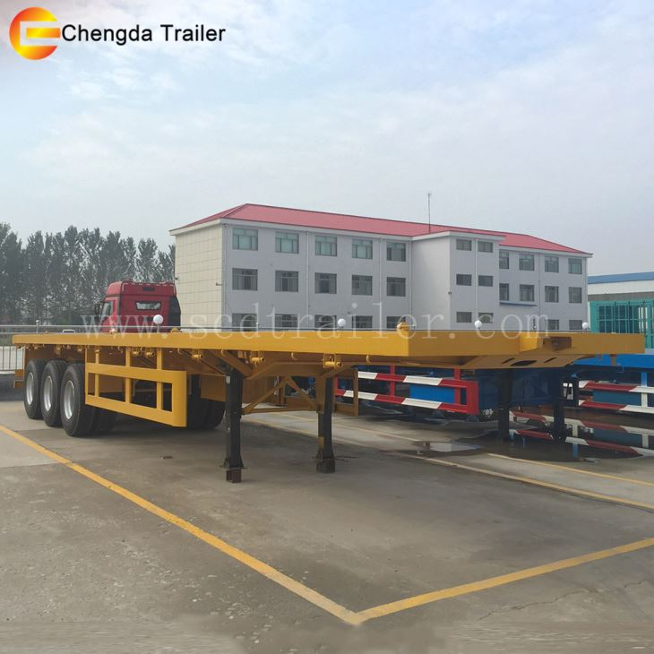Tri-axle 20 40 Feet Shipping Flatbed Container Trailer with Container Lock