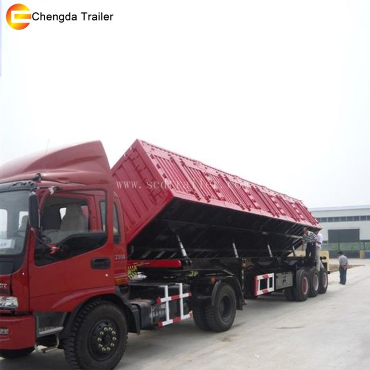 45cbm 80ton 120ton Side Tipping Dump Trailer