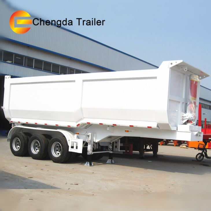 Chengda Brand 3 Axle Tractor Container 40 Cubic Meter Hydraulic Cylinder Small U Shape Dump Tipper Trailer