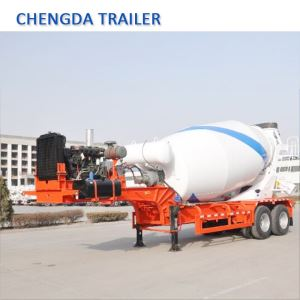 China Brand New 2 Axles 10m3 Trailer Mounted Cement Mixer Trailer