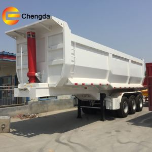 China Factory Hydraulic Cylinder 3 Axle 35 Cubic Meter U Shape Dump Tipping Tipper Semi Trailer