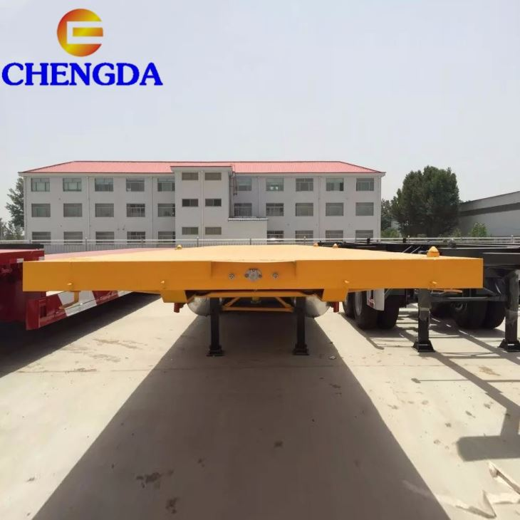 China Hot Sale Tri-axle 3 Axle 40ft Flat Bed Trailer